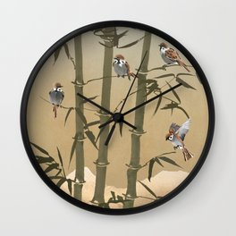 Sparrows And Bamboo Wall Clock