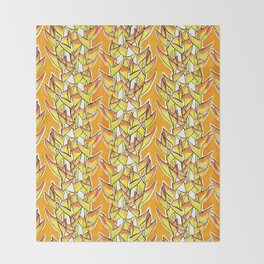 Heliconia Rostrata / Lobster Claw, yellow, orange  & white, Throw Blanket