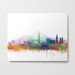 Tokyo Skyline Watercolor by Zouzounio Art Metal Print