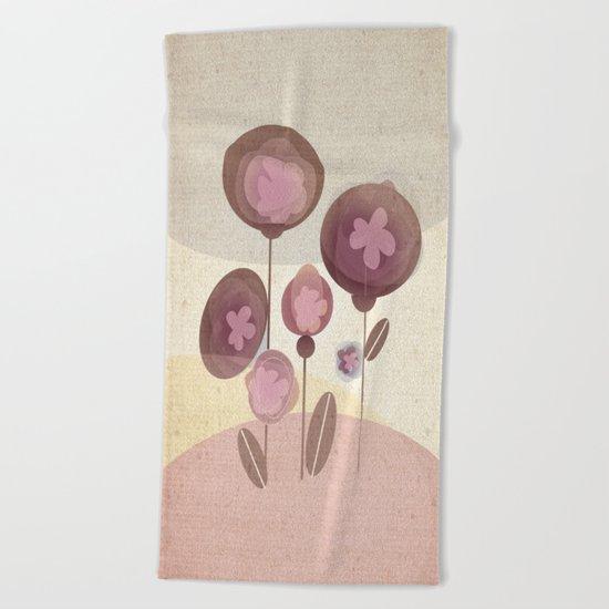 Flowers en Rose Beach Towel