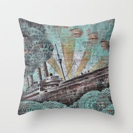 the boat wall Throw Pillow