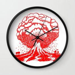 Volcano - Red Wall Clock