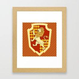 HP Striped Gryffindor house crest Framed Art Print