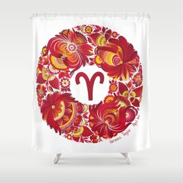 Aries in Petrykivka style (with signature) Shower Curtain