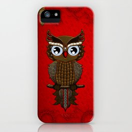 Wonderful steampunk owl on red background iPhone Case