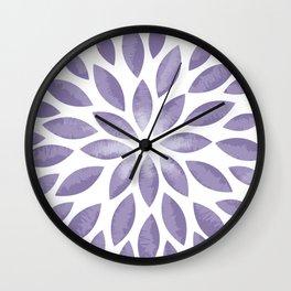 Purple Flower Burst Wall Clock