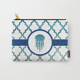 Jellyfish: Tropical Water Moroccan Pattern Carry-All Pouch