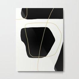 Black and White Scandinavian Abstract Art Metal Print