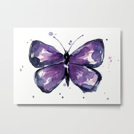 Purple Butterfly Watercolor Abstract Animal Art Metal Print