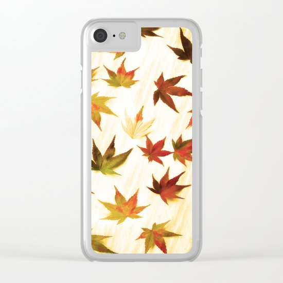 AUTUMN LEAVES PATTERN #3 #decor #art #society6 Clear iPhone Case