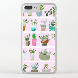 Shelfie cactus print Clear iPhone Case
