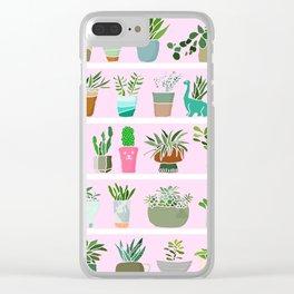 Shelfie cactus print Clear iPhone Case