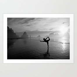 Yoga at Shi Shi Beach, Washington Art Print