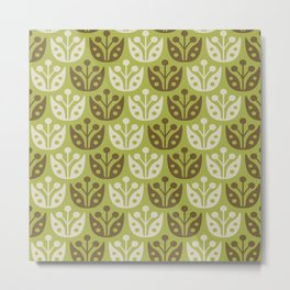 Mid Century Modern Flower Pattern Chartreuse and Brown 112 Metal Print