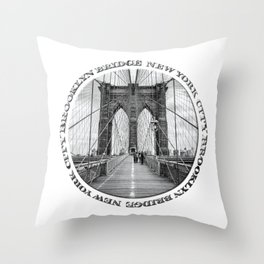 Brooklyn Bridge New York City (black & white badge emblem) Throw Pillow