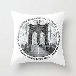 Brooklyn Bridge New York City (black & white with text) Throw Pillow