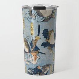 Famous Heroes of the Kabuki Stage Played by Frogs by Utagawa Kuniyoshi. Japaneses fine art. Travel Mug