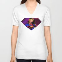 supergirl V-neck T-shirts featuring Supergirl by EarlyHuman