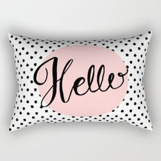 Hello Dots Hand Lettering - pink Rectangular Pillow