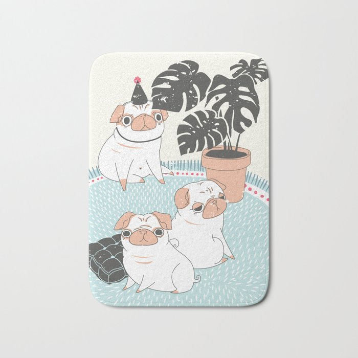 Pugs with tropical plants Bath Mat