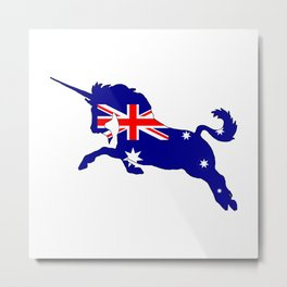 Australian Flag - Unicorn Metal Print