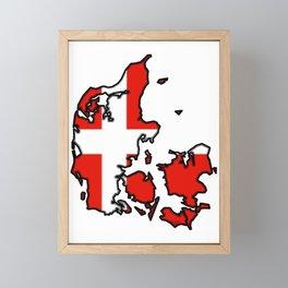 Denmark Map with Danish Flag Framed Mini Art Print