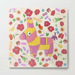 Fiesta // Donkey Piñata, Party Art, Mexican Candy Illustration  Metal Print