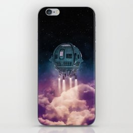 Out of the atmosphere / 3D render of spaceship rising above clouds iPhone Skin