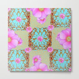 Delicate French Style Aqua Pink Wild Rose Gold Jewelry Abstract Metal Print