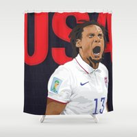 world cup Shower Curtains featuring USA World Cup 2014 by TheColorK