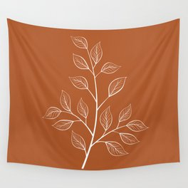 Delicate White Leaves and Branch on a Rust Orange Background Wall Tapestry