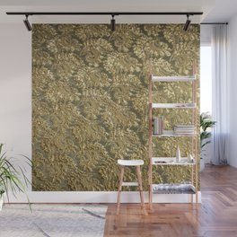Vintage gold french grunge floral lace Wall Mural