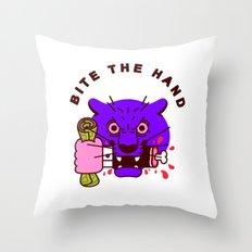 Bite the Hand Throw Pillow