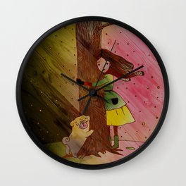 She and Her Pug Tree Wall Clock