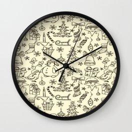 christmas patterns Wall Clock