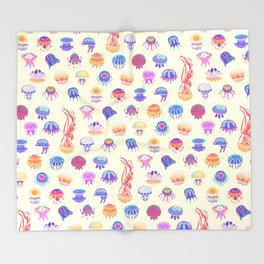 Jellyfish Day - pastel Throw Blanket