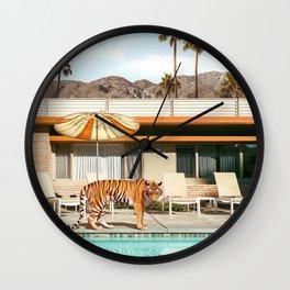 Pool Party Tiger Wall Clock