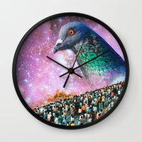 pigeon Wall Clocks featuring Pigeon by John Turck
