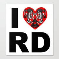 roller derby Canvas Prints featuring I heart roller derby by Andrew Mark Hunter