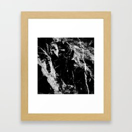 Dark marble black white stone1 Framed Art Print
