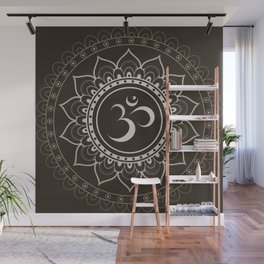 Espresso Brown Om Mandala Wall Mural