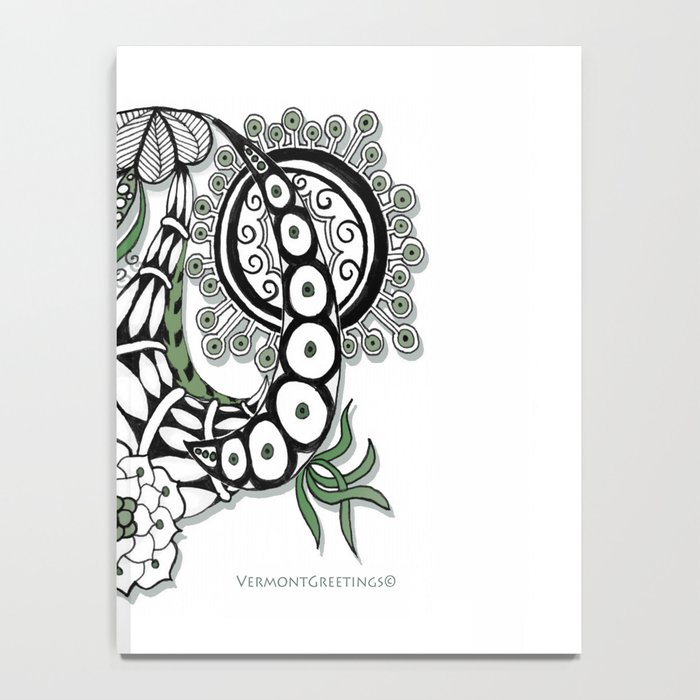 Zentangle Design - Black, White and Sage Illustration Notebook