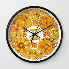 Gemini in Petrykivka Style (without artist's signature/date) Wall Clock