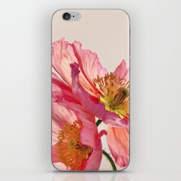 Like Light through Silk - peach / pink translucent poppy floral iPhone Skin