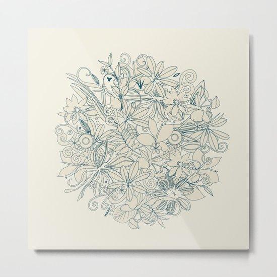 Denim flower circle Metal Print
