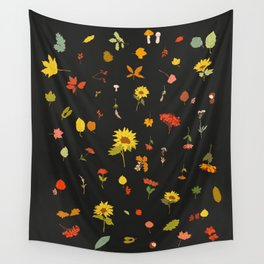 signs of fall with black background Wall Tapestry