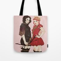 arya Tote Bags featuring A Queen & her Knight by Noble Demons