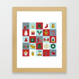 Fun Christmas Pattern Framed Art Print