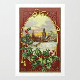 Wishing you Vintage Christmas Joy Art Print