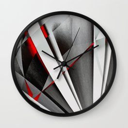 Red Gray Abstractum Wall Clock